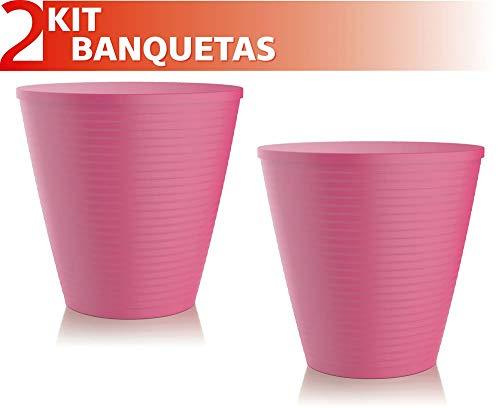 Kit 2 Banquetas Fluo Color Rosa