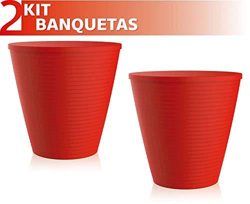 Kit 2 Banquetas Fluo Color Vermelho