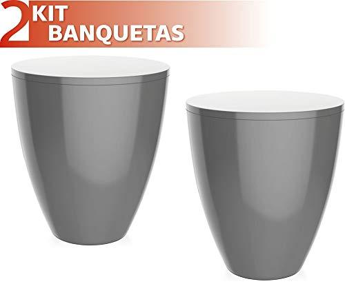 Kit 2 Banquetas Moly Color Cinza