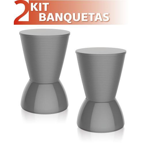 Kit 2 Banquetas Nick Color Cinza