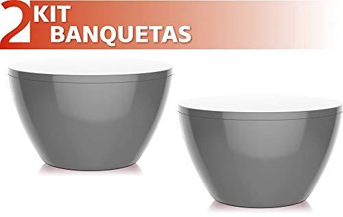 Kit 2 Banquetas Oxy Color Cinza