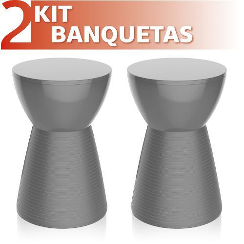 Kit 2 Banquetas Sili Color Cinza