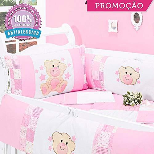 Kit Berço Charminho 09 Peças - Rosa - Ursinhos