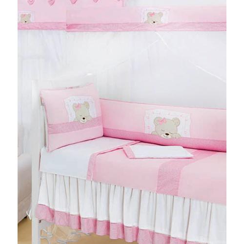 Kit Berço Ursinha Dorminhoca 09 Peças - Rosa