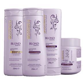 Kit Blond Biorefex Shampoo 250ml+Condicionador 250ml+Máscara 250g+Finalizador 200g Bio Extratus