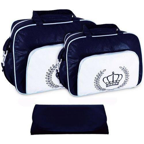 Kit Bolsa Bebê Maternidade Azul Marinho Trocador B10W01