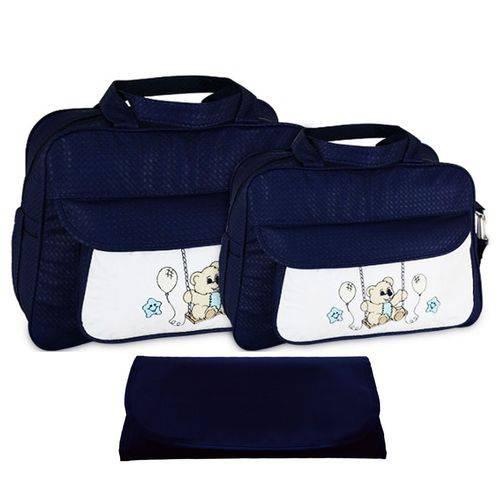 Kit Bolsa Bebê Maternidade Azul Marinho Trocador B10W07