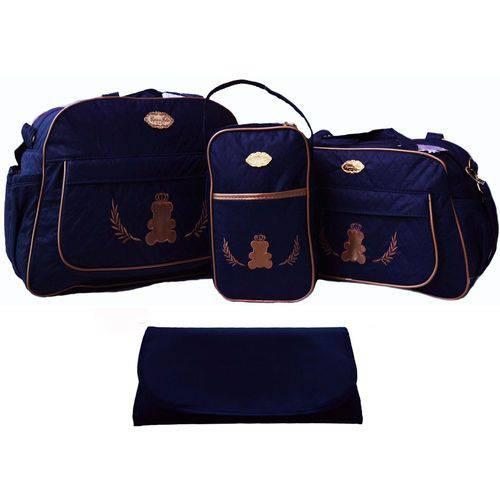 Kit Bolsa Bebê Maternidade Azul Marinho Trocador B40W02