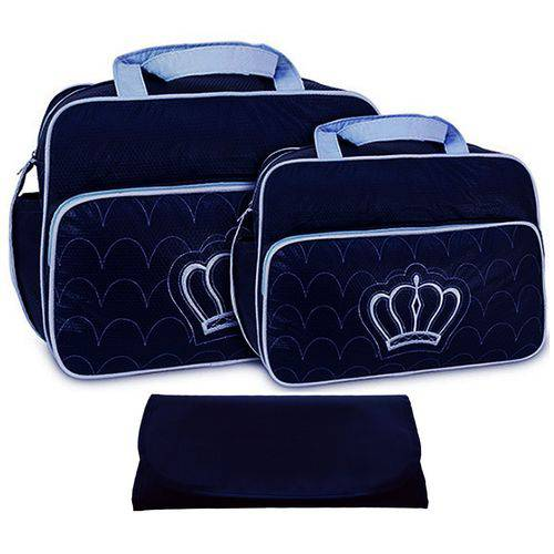 Kit Bolsa Bebê Maternidade Marinho Azul Trocador B10W08