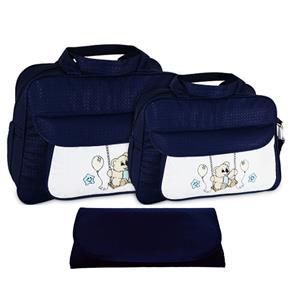 Kit Bolsa Bebê Maternidade Trocador Azul Marinho CNT107