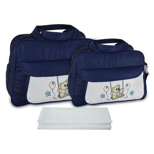 Kit Bolsa Maternidade Azul Marinho com Trocador