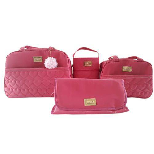 Kit Bolsa Maternidade Rosa Pink 4 Peças