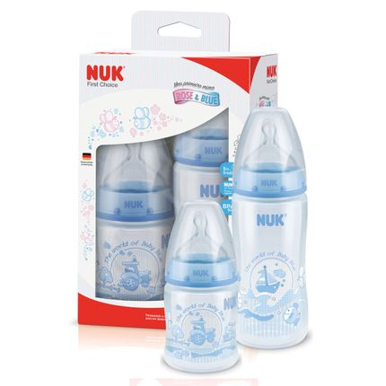 Tudo sobre 'Kit C/ 2 Mamadeiras First Choice Blue 150-300ml - NUK'