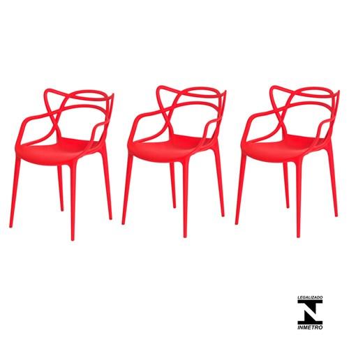 Kit 3 Cadeiras Allegra Vermelha