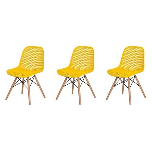 Kit 3 Cadeiras Colméia Amarela