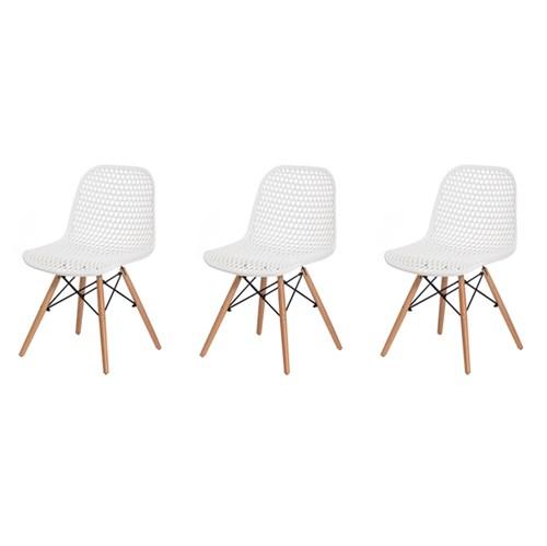 Kit 3 Cadeiras Colméia Branca