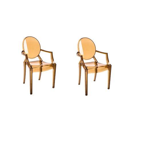 Kit 2 Cadeiras Ghost com Braço