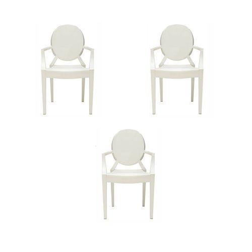 Kit 3 Cadeiras Ghost com Braço