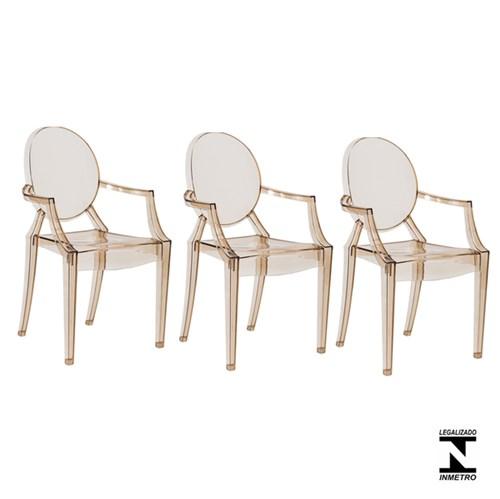Kit 3 Cadeiras Louis Ghost Ambar