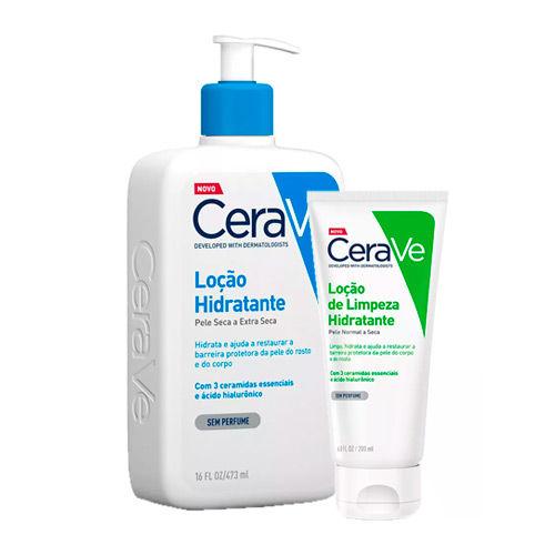 Kit Cerave Loção de Hidratação Corporal 473ml + Loção de Limpeza Hidratante 200ml