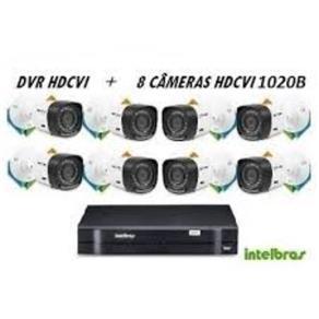 Kit Cftv DVR 8 Ch Intelbras Hdcvi 1008 Tribido + 8 Câmera HDCVI Infra Intelbras VHD 1120 B 3,6mm 20 Mts HDCVI + 1 Fonte 10 + Bnc + P4