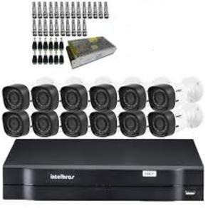 Kit Cftv Dvr Intelbras 16ch Hdcvi Tribido 1016 + 12 Câmeras VHD 1010 B Intelbras HDCVI HD (720p), Lente 3.6mm +1 Fonte 10 Amper + 24 Bnc +12 P4