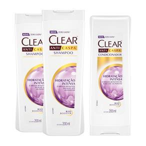 Kit Clear Hidratação Intensa 2 Shampoos 200ml + Condicionador 200ml