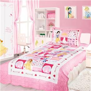 Kit Cobreleito Colcha Solteiro Infantil Camesa Patchwork Disney Princesas Rosa e Branco