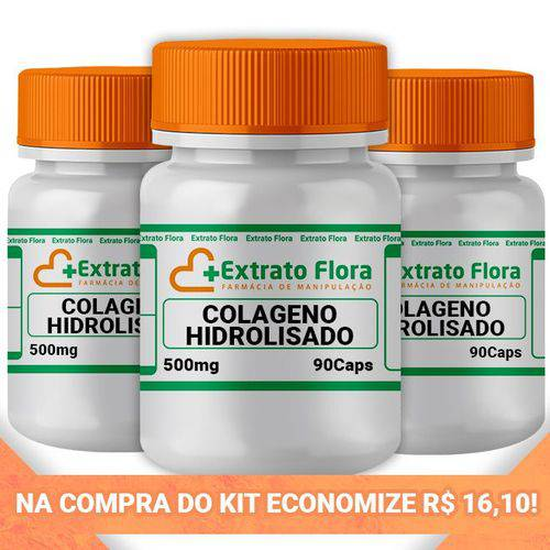 Kit Colágeno Hidrolisado 500mg 90 Cápsulas (3und)