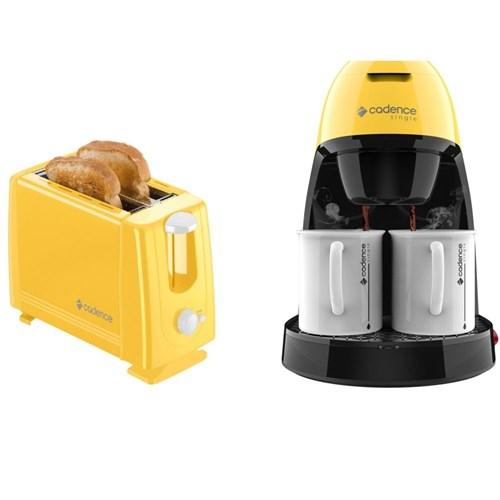Kit Colors Amarelo Torradeira e Cafeteira Cadence 220V