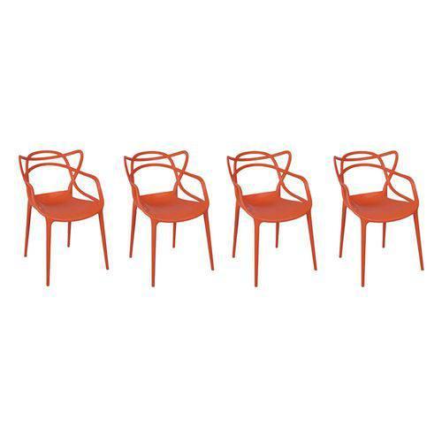 Kit com 4 Cadeiras Allegra Laranja