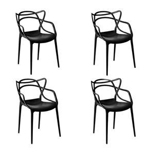 Kit com 4 Cadeiras Allegra - PRETO