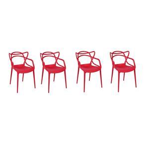 Kit com 4 Cadeiras Allegra Vermelha