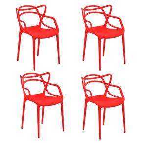 Kit com 4 Cadeiras Allegra - VERMELHO