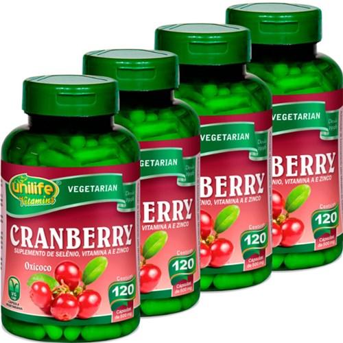 Kit com 4 Frascos de Cranberry Oxicoco Unilife 120 Capsulas 500Mg