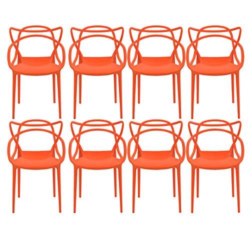 Kit com 8 Cadeiras Allegra Laranja