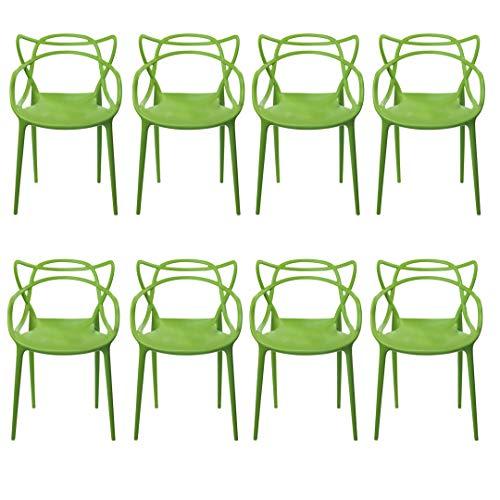 Kit com 8 Cadeiras Allegra Verde