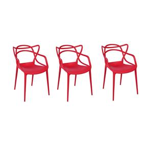 Kit com 3 Cadeiras Allegra Vermelha