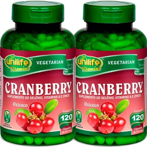 Kit com 2 Frascos de Cranberry Oxicoco Unilife 120 Capsulas 500mg