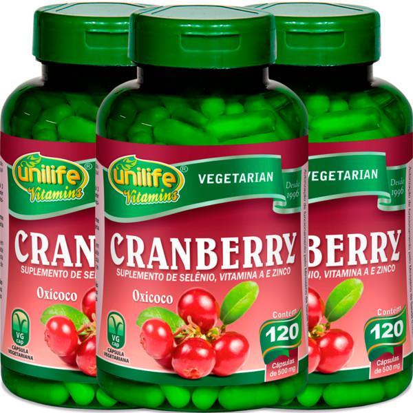 Kit com 3 Frascos de Cranberry Oxicoco Unilife 120 Capsulas 500mg