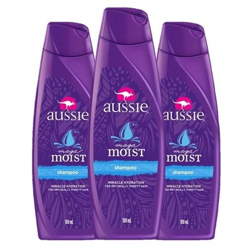 Kit com 3 Shampoo Aussie Moist 180ml