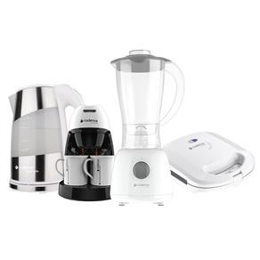 Kit Cozinha Branca Pratic Cadence Sanduicheira + Liquidificador + Chaleira + Cafeteira - 220V
