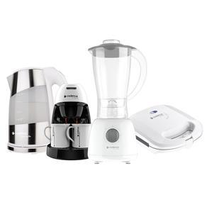 Kit Cozinha Branca Pratic Cadence Sanduicheira + Liquidificador + Chaleira + Cafeteira - 110V