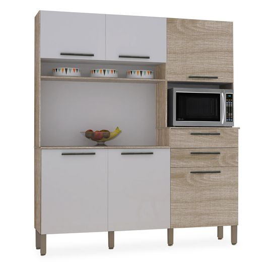 Tudo sobre 'Kit Cozinha Compacta, Nogal com Branco, Bia'