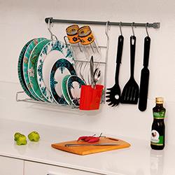 Kit de Cozinha: 1 Barra+3 Ganchos+ 1 Escorredor Dobrável+1 Kit Fixação Cromo Ecológico e Vermelho - Metaltru