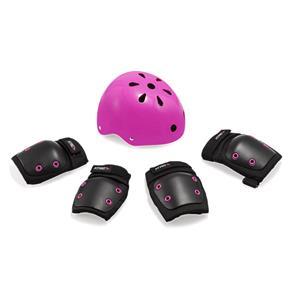 Kit de Proteção Infantil Preto/Rosa – Capacete G / Kit M - a