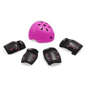 Kit de Proteção Infantil Preto/Rosa - Capacete M / Kit P