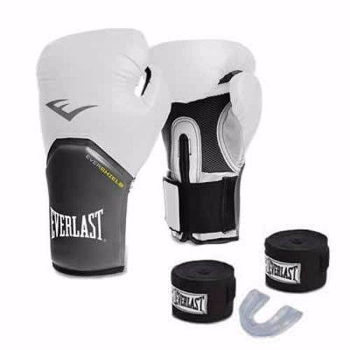 Kit Everlast Elite Branca Boxe e Muay Thai Luva+band+bucal