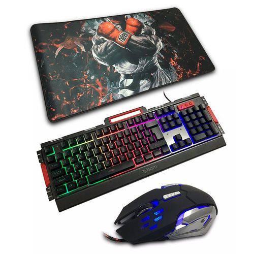 Tudo sobre 'Kit Gamer Teclado Semi Mecânico + Mouse 3000dpi + Mouse Pad Extra Grande'