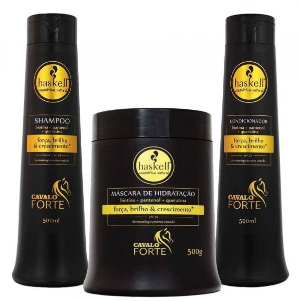Kit Haskell Cavalo Forte Shampoo, Condicionador e Mascara 500g/ml